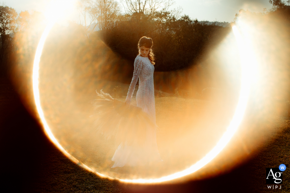 Casa Wilfrido post Ceremonywedding portrait of the Bride with sun effect