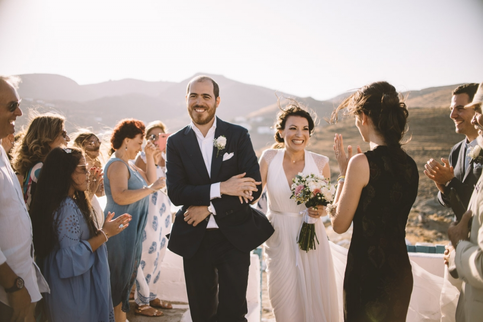 Photo of a Kythnos, Greece bride and groom walking down the aisle