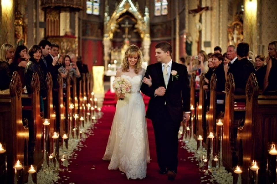 St. Ludmila Church, de fotografie van de de huwelijksceremonie van Praag, Tsjechische Republiek