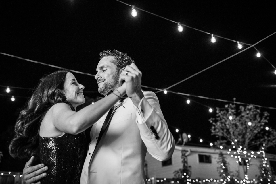 Photography of first dance at outdoor wedding, Denver, Colorado.