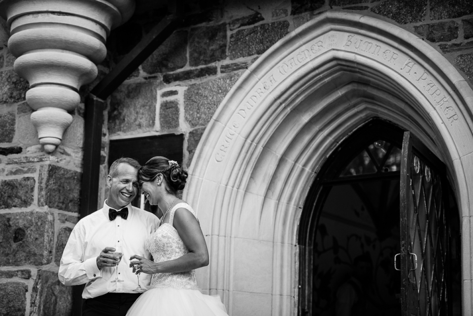 Bride and groom take a break from wedding reception at The Cloisters in Baltimore.