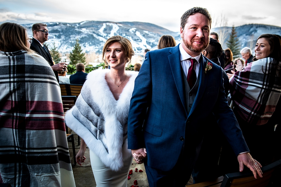 Bride and Groom Recessional photo after mountain ceremony| Sonnenalp Club Wedding | Beaver Creek Wedding Photographers | J. La Plante Photo