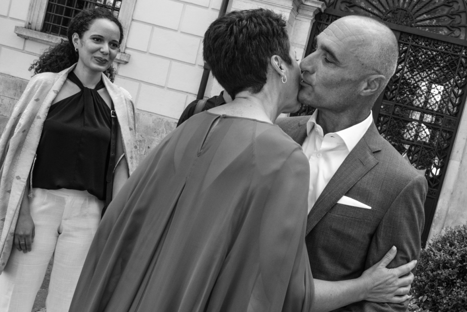 Municipio di Tagliacozzo L'Aquila Italy wedding image of the groom kissing