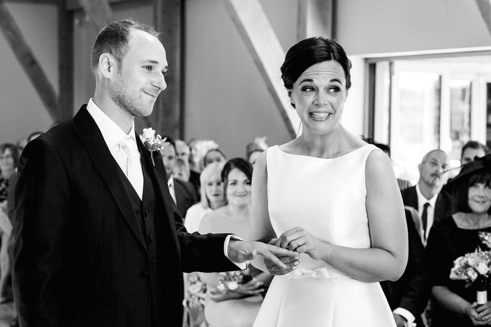 Easton Grange, Suffolk, UK fotografie van huwelijksceremonie.
