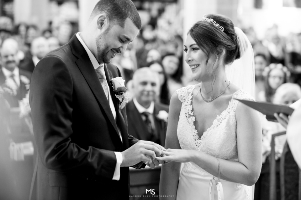 St Mary & All Saints Church Beaconsfield, UK wedding ceremony photography in black and white -  Amersham, Chesham, and Marlow photographer