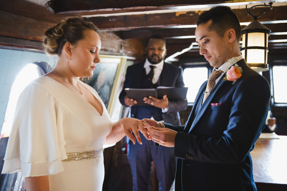 Wedding rings ceremony photo - The Golden Hindle, Pickfords Wharf, London, UK