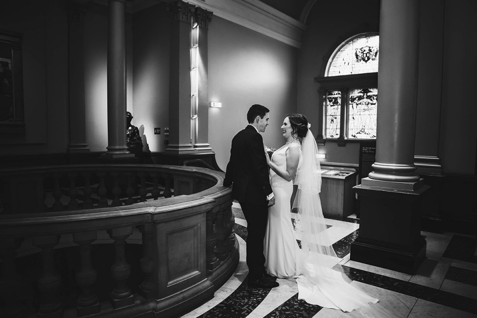 Wedding Photography of a beautiful couple just married at the Laing Art Gallery