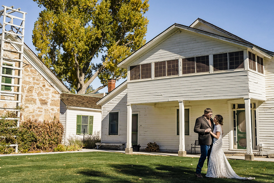 Historic Dangberg Ranch, Minden, NV wedding venue image of the couple dancing outdoors