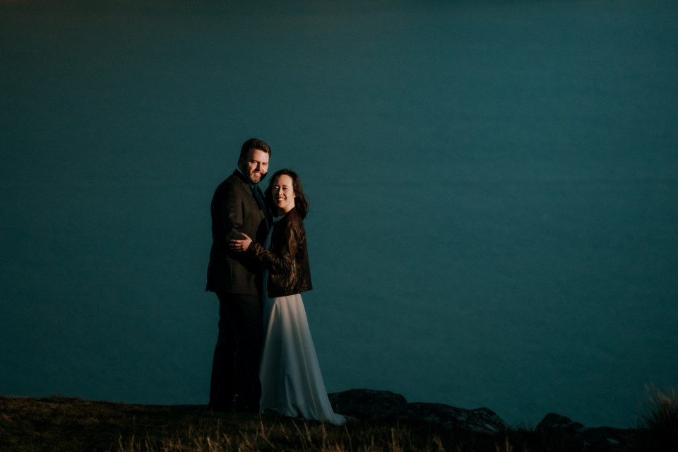Portrait from a backyard Christchurch, NZ wedding. Photography by Liz Robson