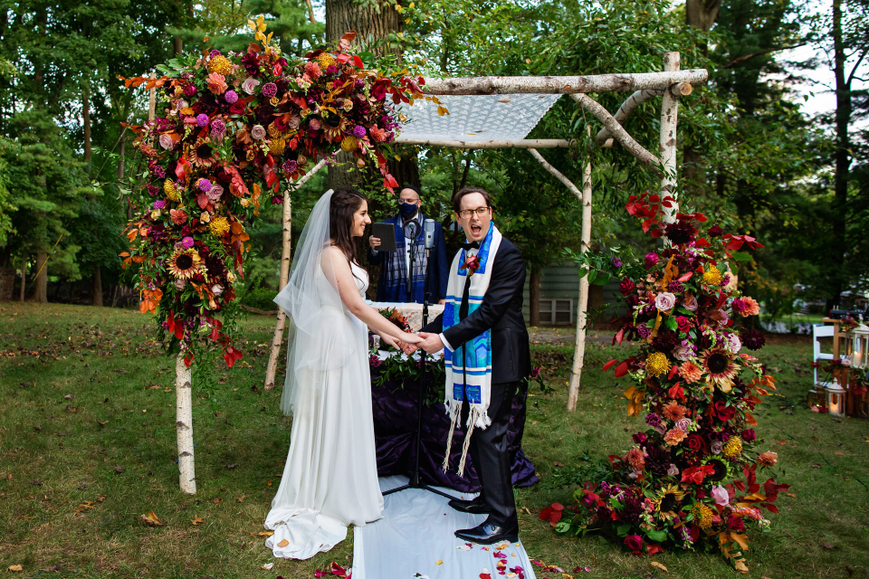 Outdoor wedding photo from a Backyard Elopement ceremony - Photography by Michelle Arlotta
