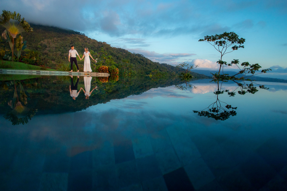 Villa Mayana Dominical, Costa Rica Outdoor Wedding Couple Portrait Session by the Pool by Kevin Heslin