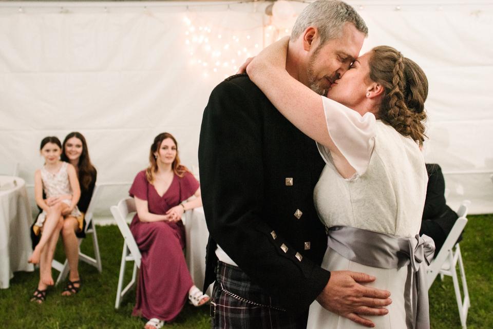 Ottawa Backyard Tented Wedding Couple Kissing Image - Elopement Photo by: Viara Mileva