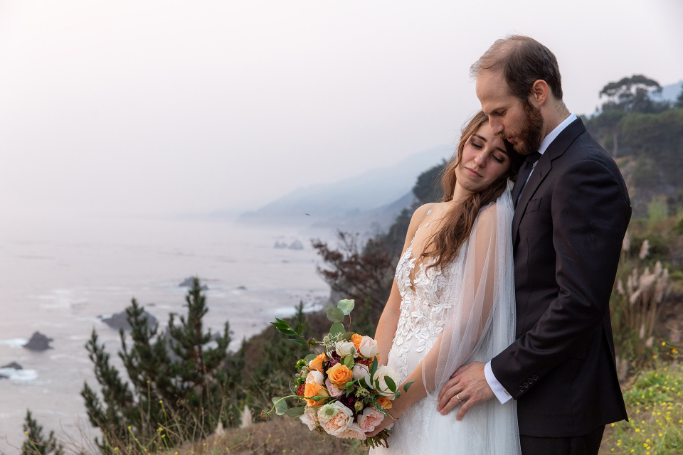 Outdoor wedding portrait of the couple at Wind and Sea Estate Venue, Big Sur, California - Elopement Image by Joyce Perlman