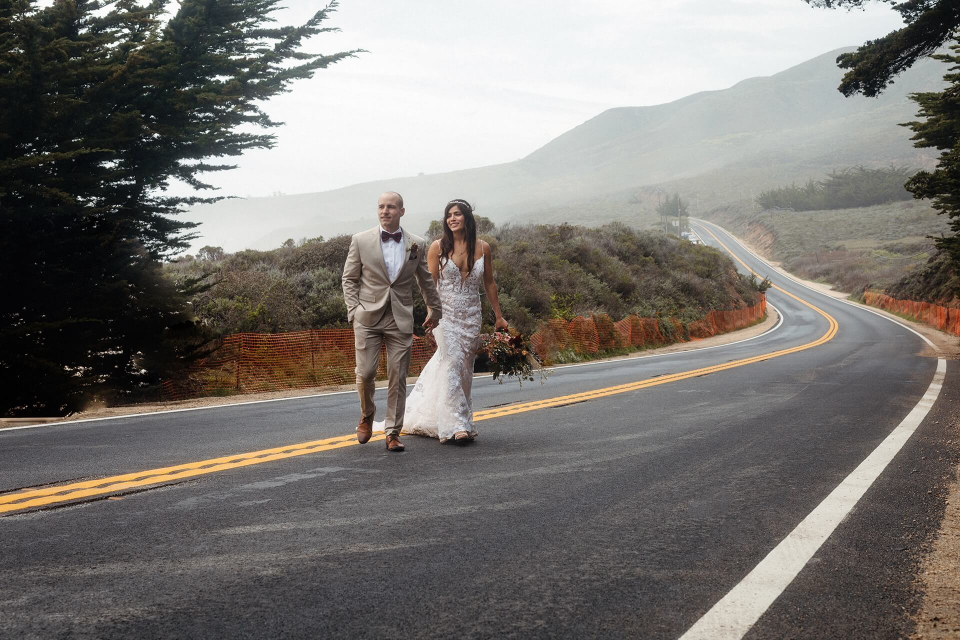 Big Sur, California Elopement image of the couple crossing the road