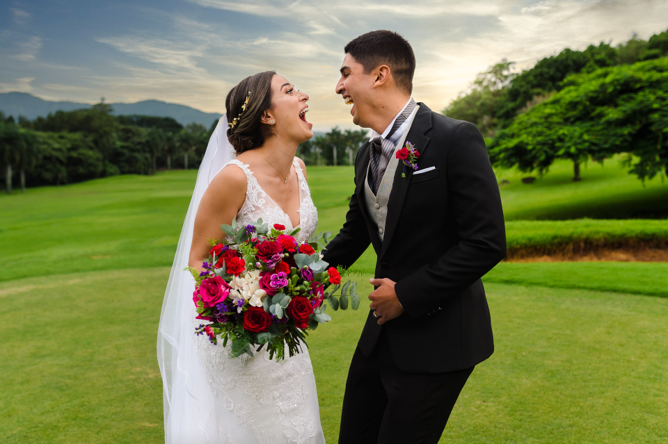 A marriage portrait of the bride and groom at the Hotel Marriott Hacienda Belen in Heredia, Costa Rica - Elopement picture by Mauricio Urena