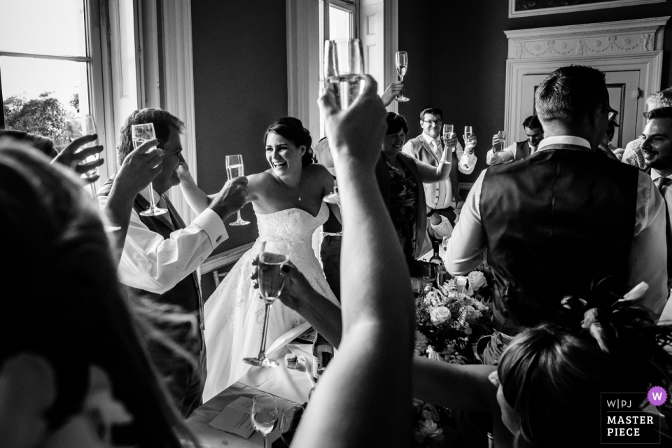 Penton Park, Hampshire wedding picture of guests toasting the bride and groom at the reception.