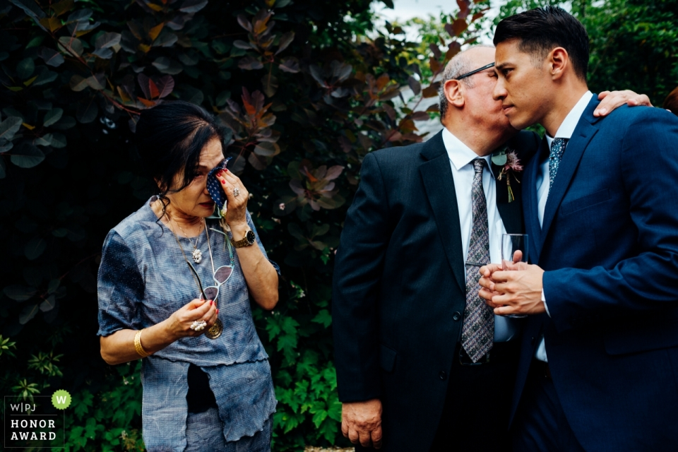 Mother and father of the groom get emotional in Widcombe Grange