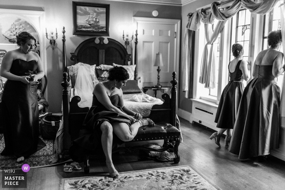 Wedding Photojournalist captured bridesmaids getting ready at Thornewood Seattle.