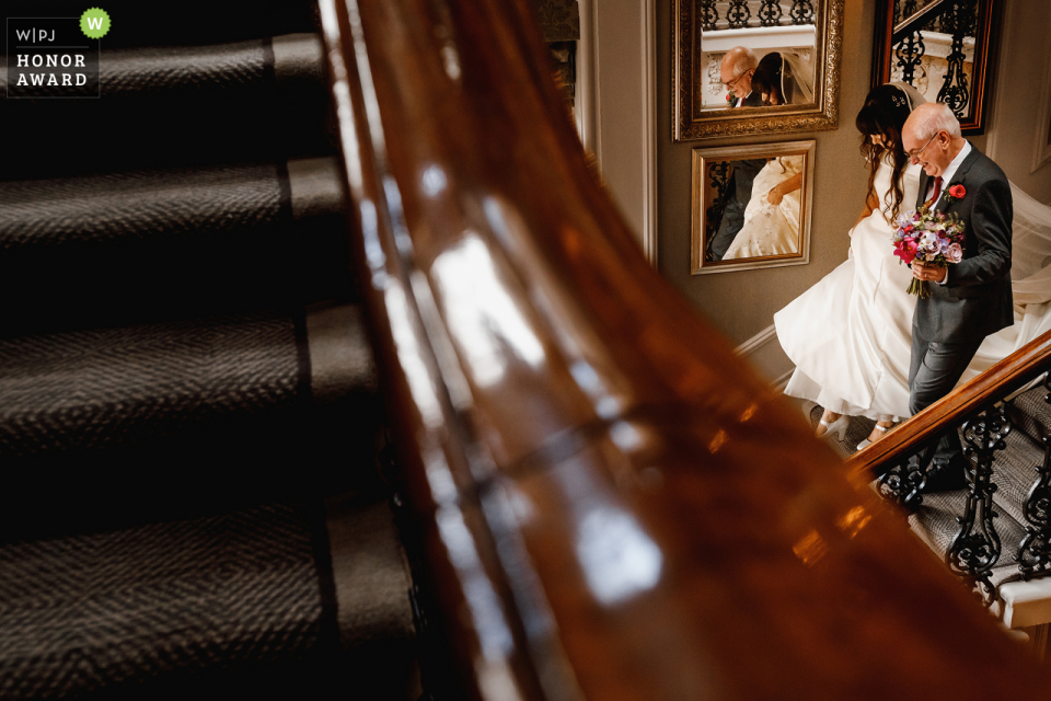 The Principal Hotel, York wedding venue photo | The Bride Arriving at the event on the stairs