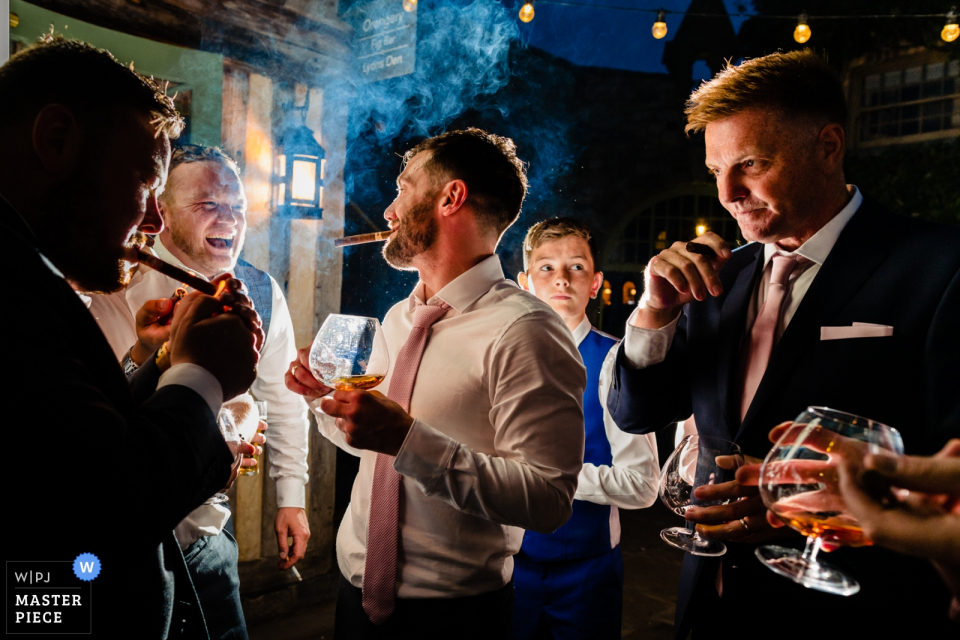 Wedding Event Reception Photography from Cliff at Lyons, Ireland   Groomsmen's after-dinner whiskey and cigars