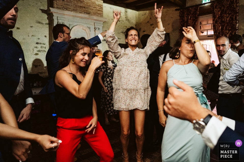 Manoir de Kerougas, Assérac Hochzeitsfotografie von der Tanzfläche der Rezeption