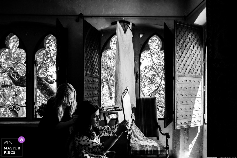 Castel Castelleras Wedding Photography in French Riviera of the bride getting ready.