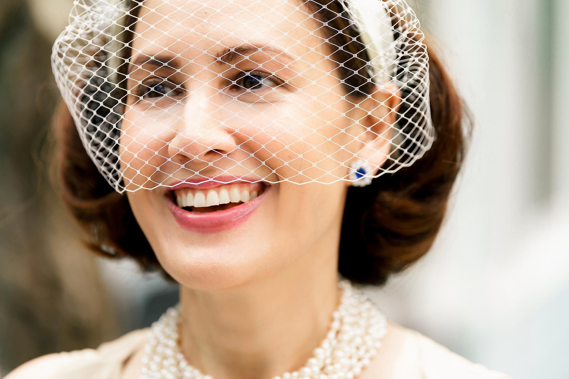 Mashpee, Massachusetts sposa vicino colpo del suo viso