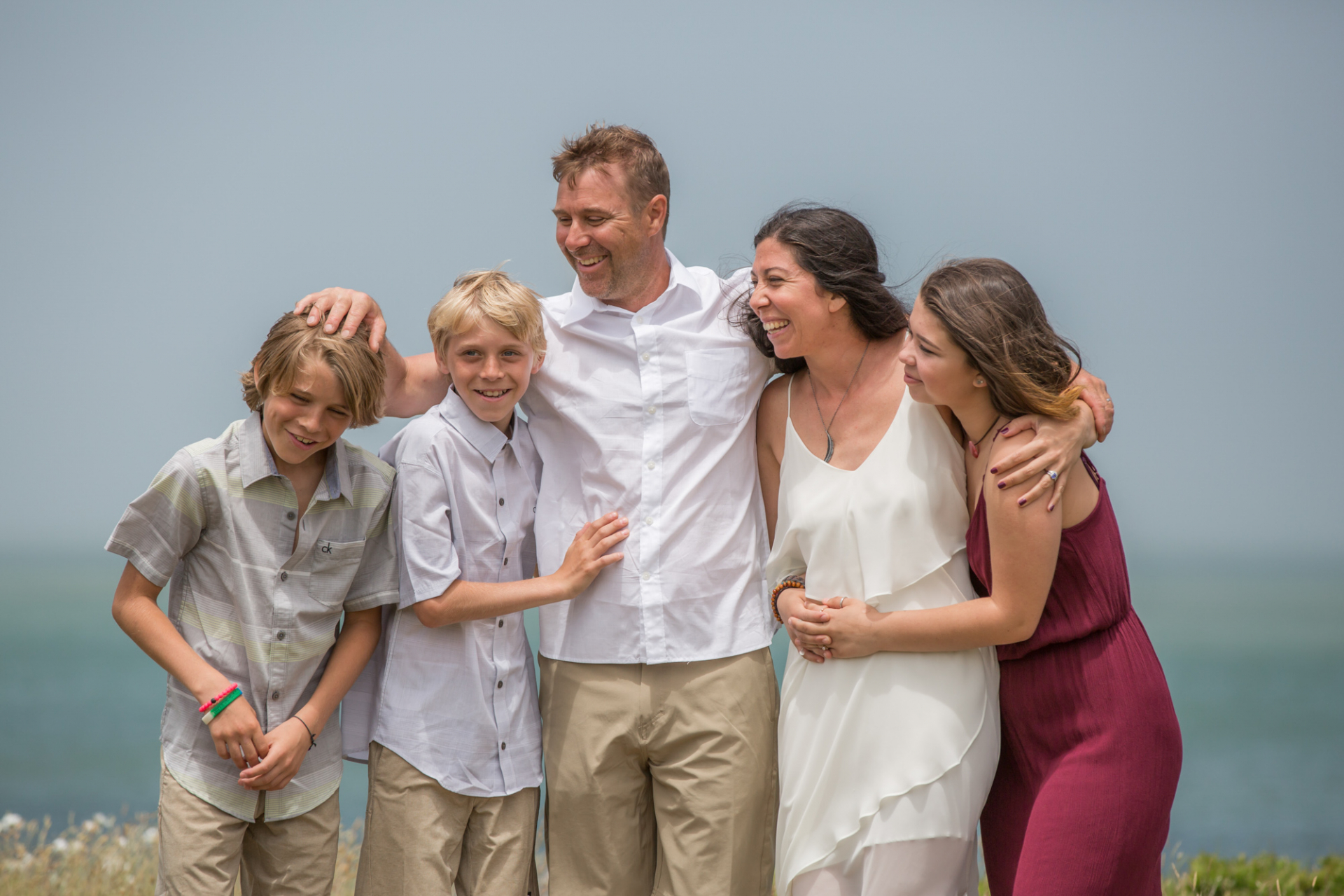 Elopement portrait with new family members on the Island, MA