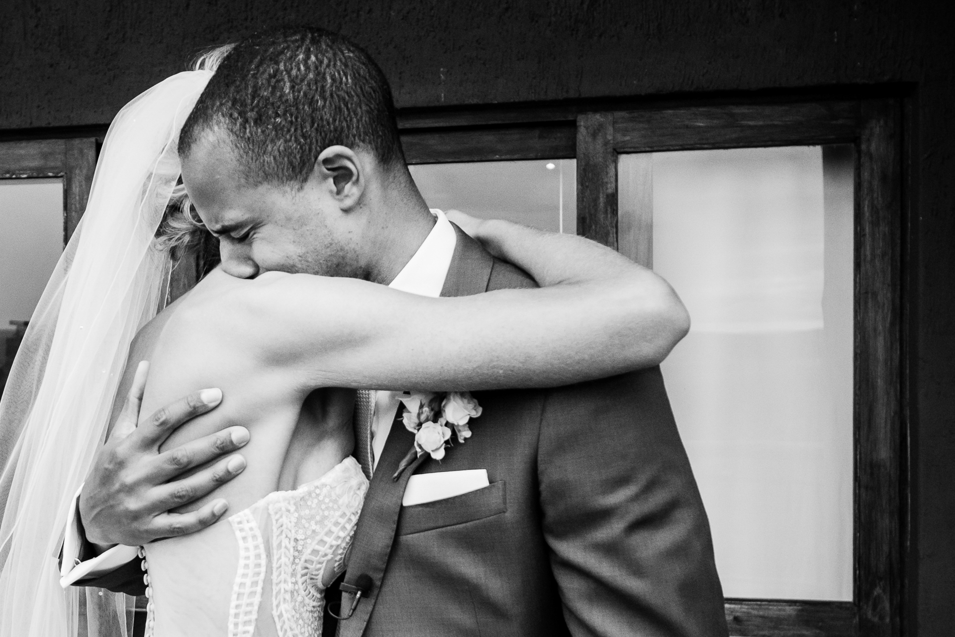 The groom could not contain his emotional reaction to his beautiful bride during their first look on their African elopement wedding. - Nambiti Hills, KwaZulu Natal Midlands, South Africa