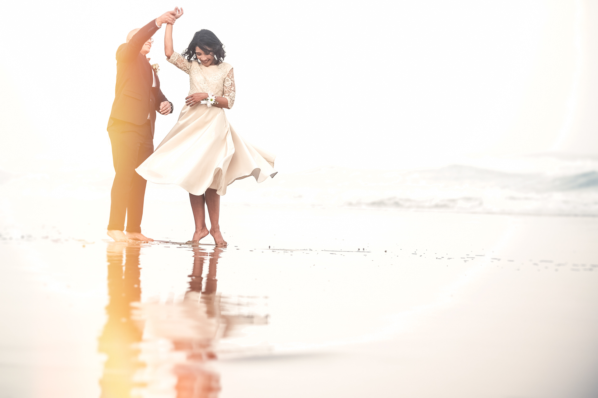 Wilderness, Garden Route, South Africa elopement - this was a spontaneous first dance the couple did on the beach during their portrait session and it captures the couple's personalities perfectly.