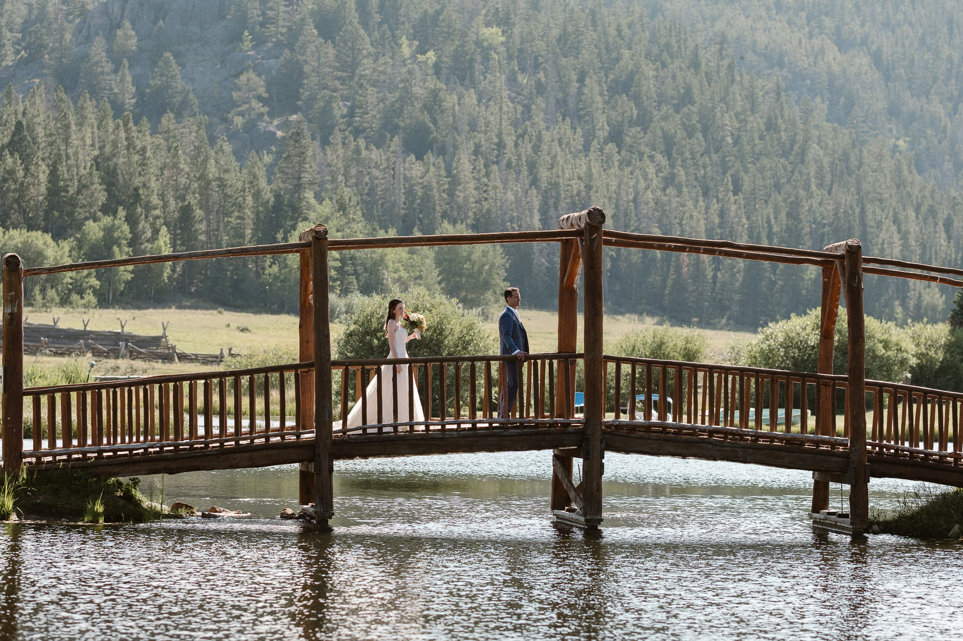 Bride walking up to the groom for their first look at their Red Feather Lakes, CO elopement