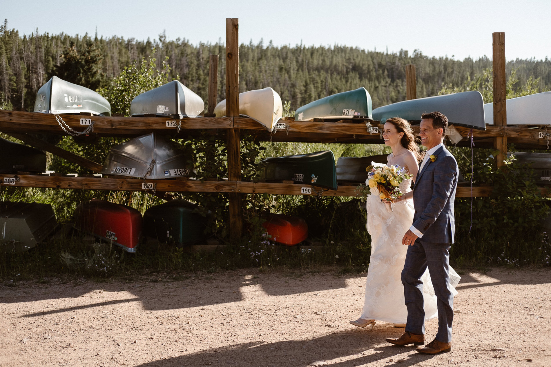 Bride and groom exploring the area at Red Feather Lakes, CO