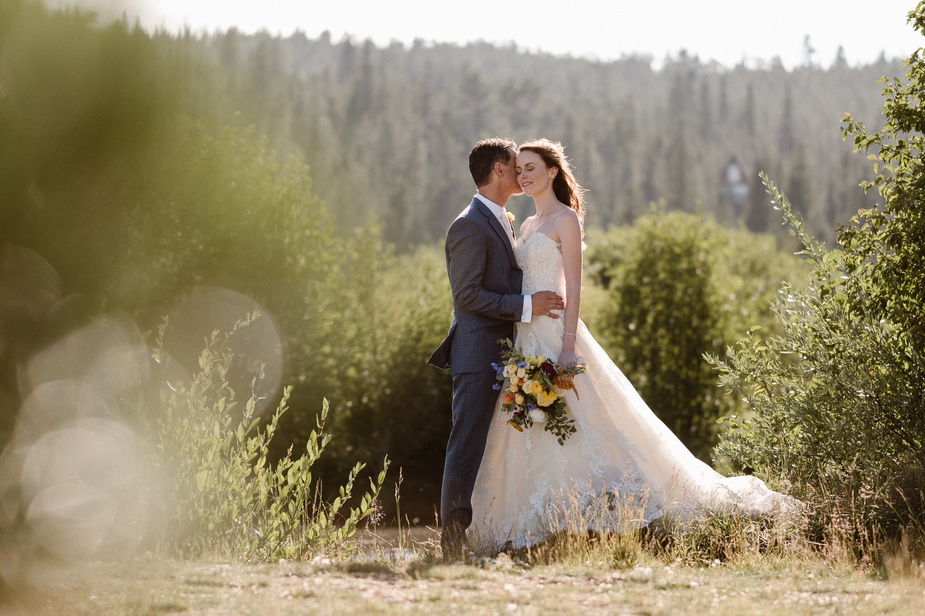 Bride and groom portraits before their elopement ceremony at Red Feather Lakes, CO