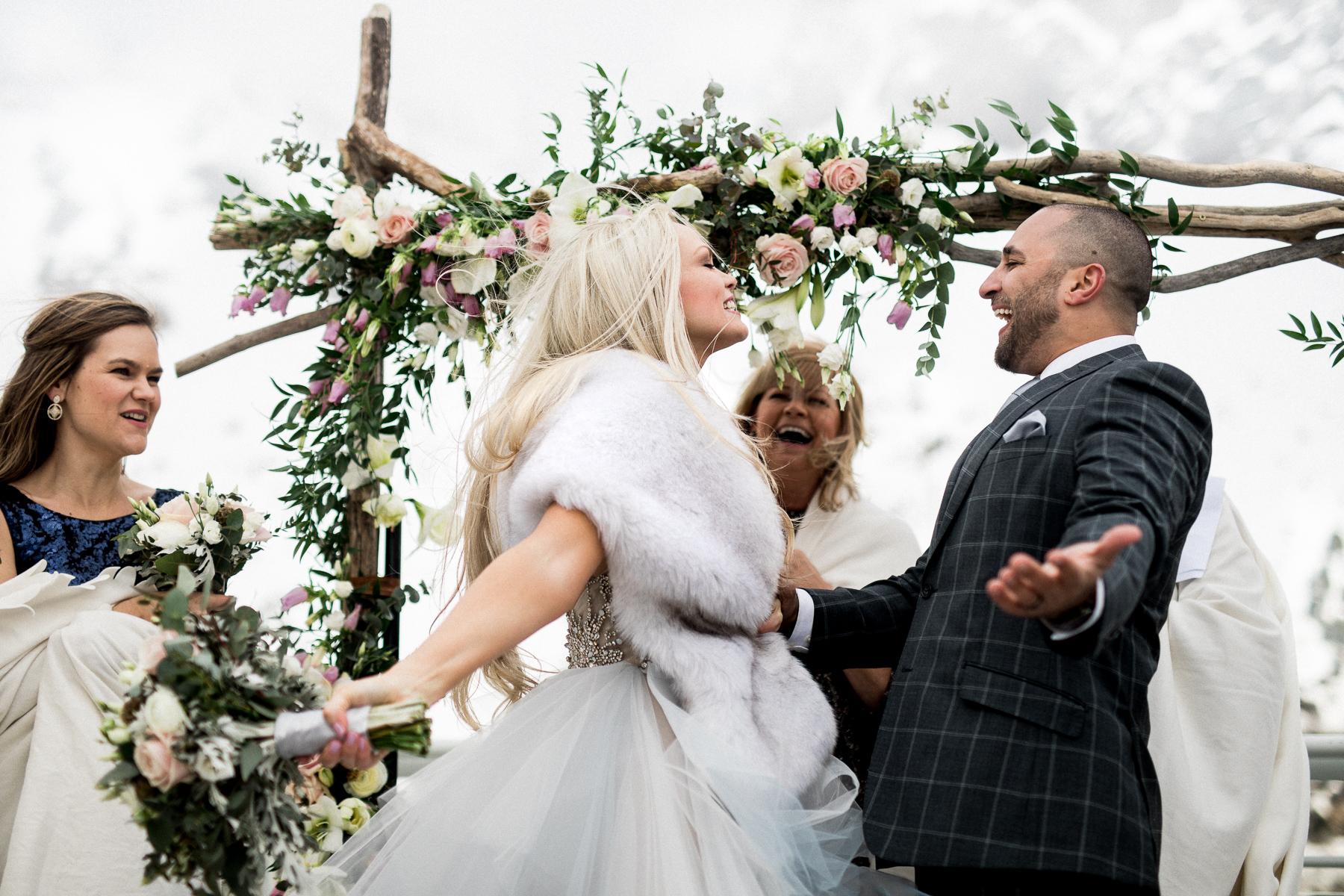 Couple lors de la cérémonie de fuite à Chamonix, France