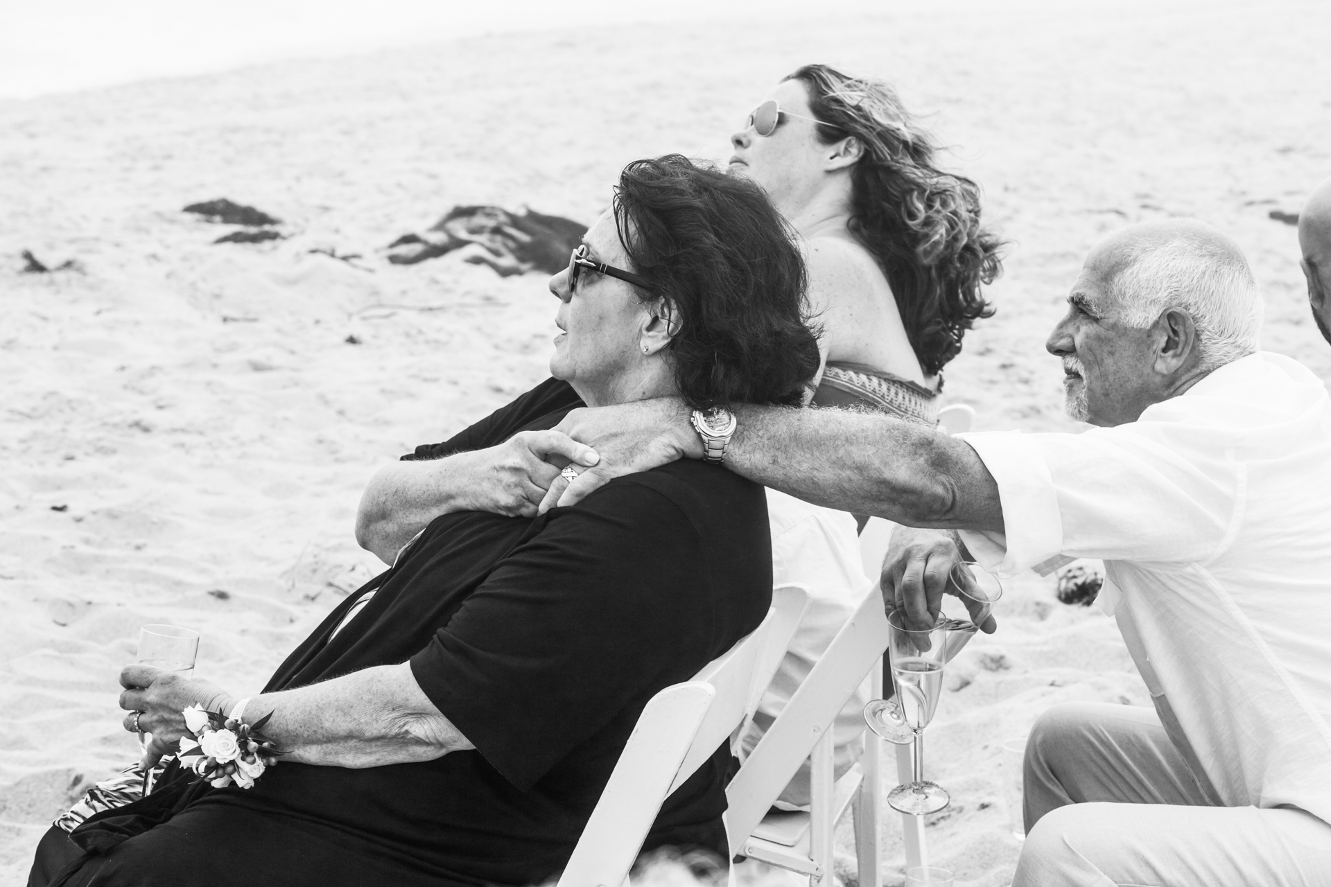 Emotional moment during the beach elopement ceremony on Nantucket Island, MA