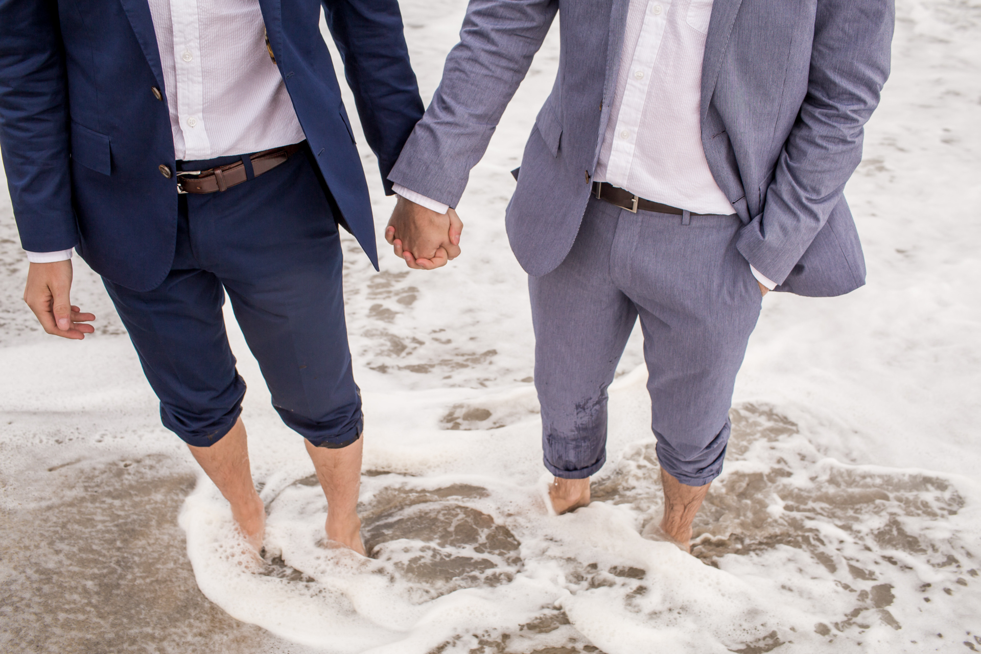 Nantucket Island, MA beach elopement wedding | Detail during portraits of the grooms.