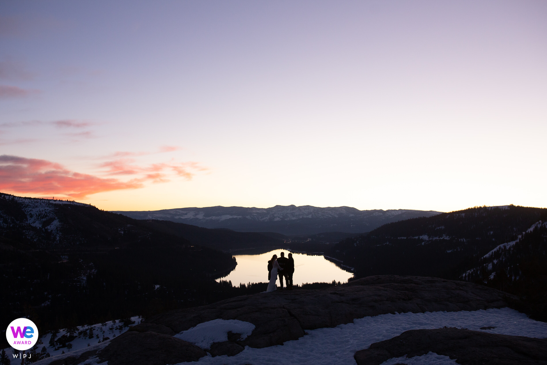 Donner Summit, CA Elopement Photography - The bride, groom, officiant (sister of the bride) and the officiant's husband perform a small elopement ceremony at sunrise on Donner Summit.