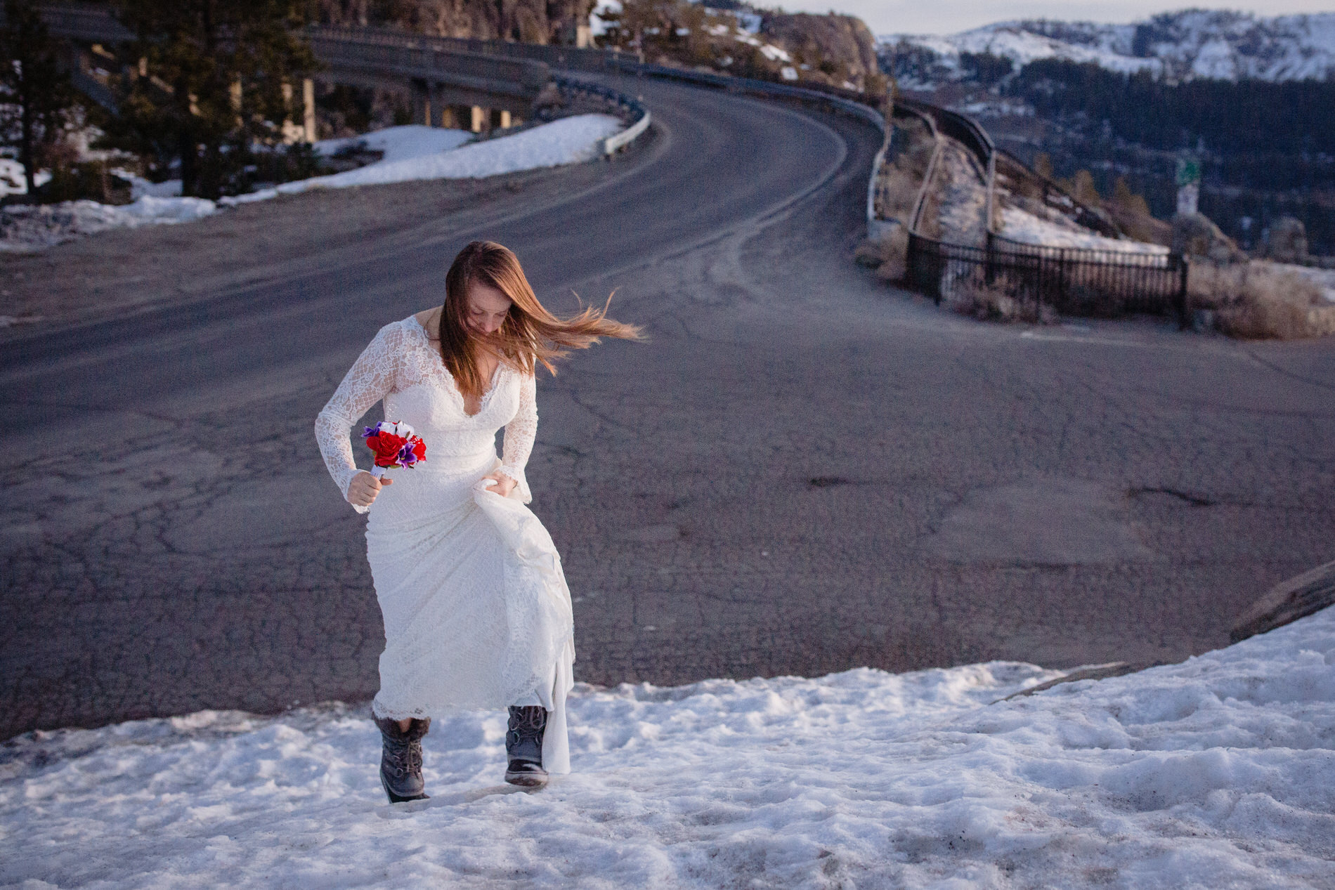 Donner Summit, California Elopement Picture of the Bride -