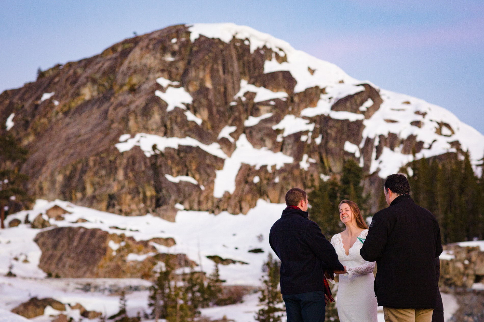 Donner Summit, CA Sunrise Elopement Ceremony Picture -