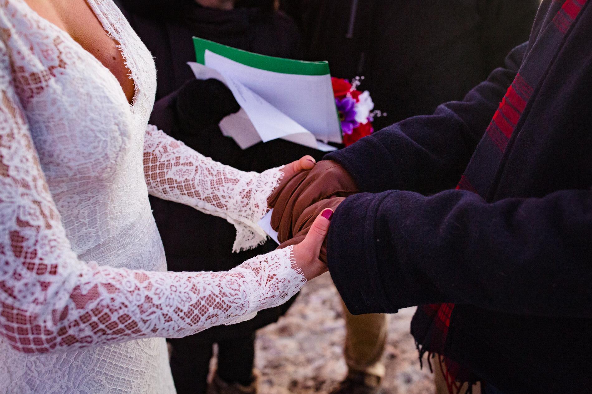 Donner Summit, CA Elopement Ceremony Detail of Hands -