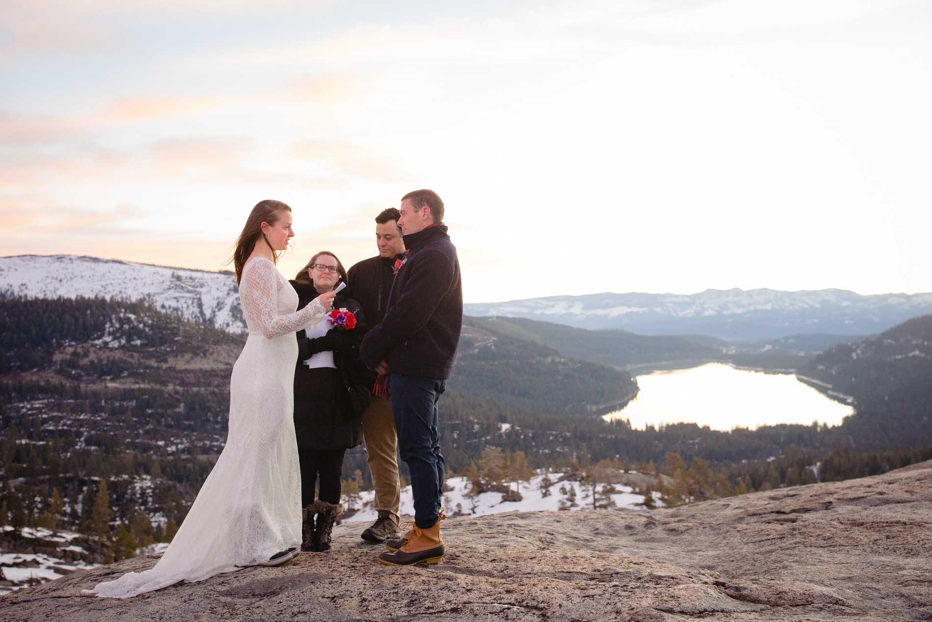 Sunrise at Donner, CA Elopement Picture from the Ceremony -