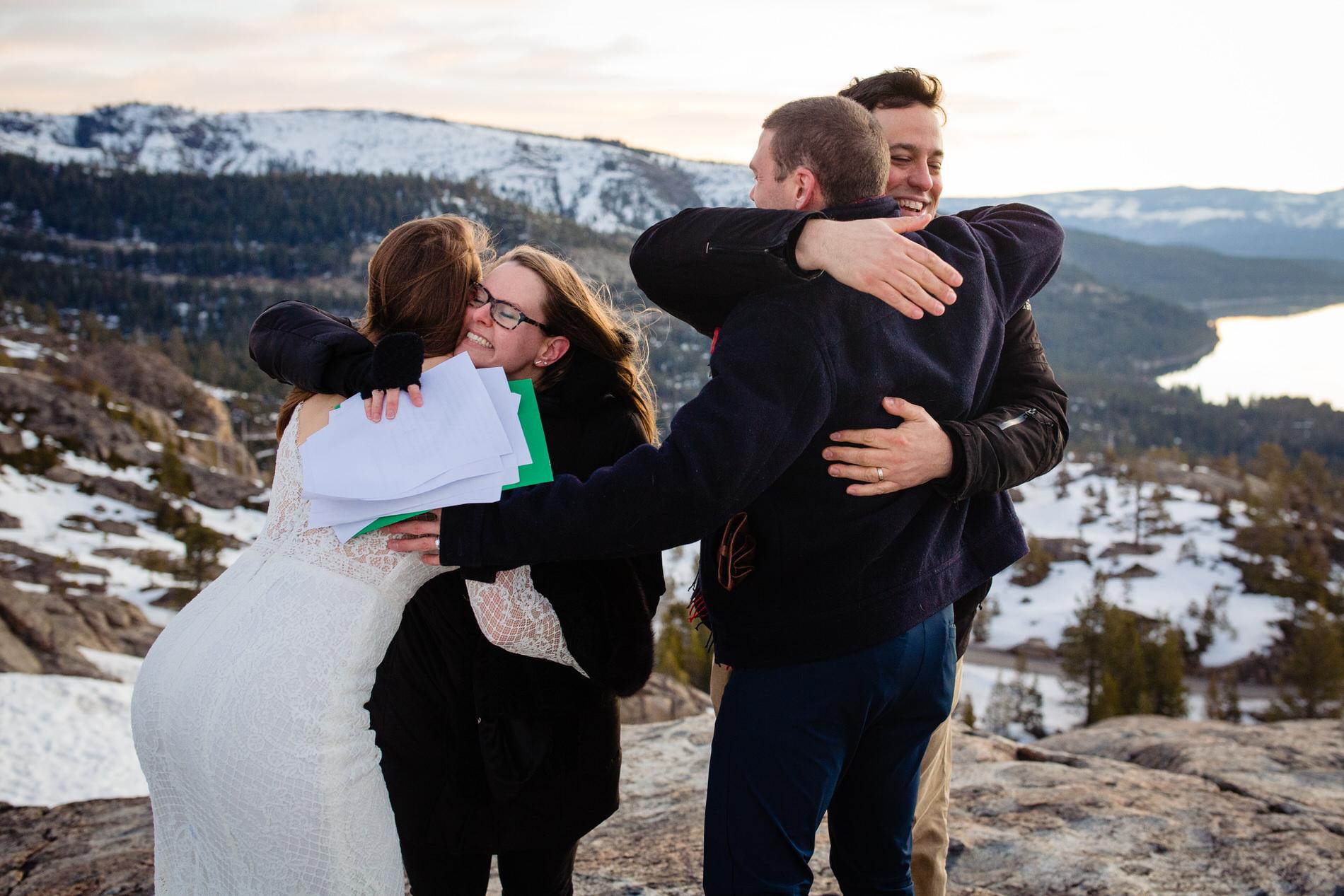 Truckee, Donner, CA Elopement Ceremony Hugs -