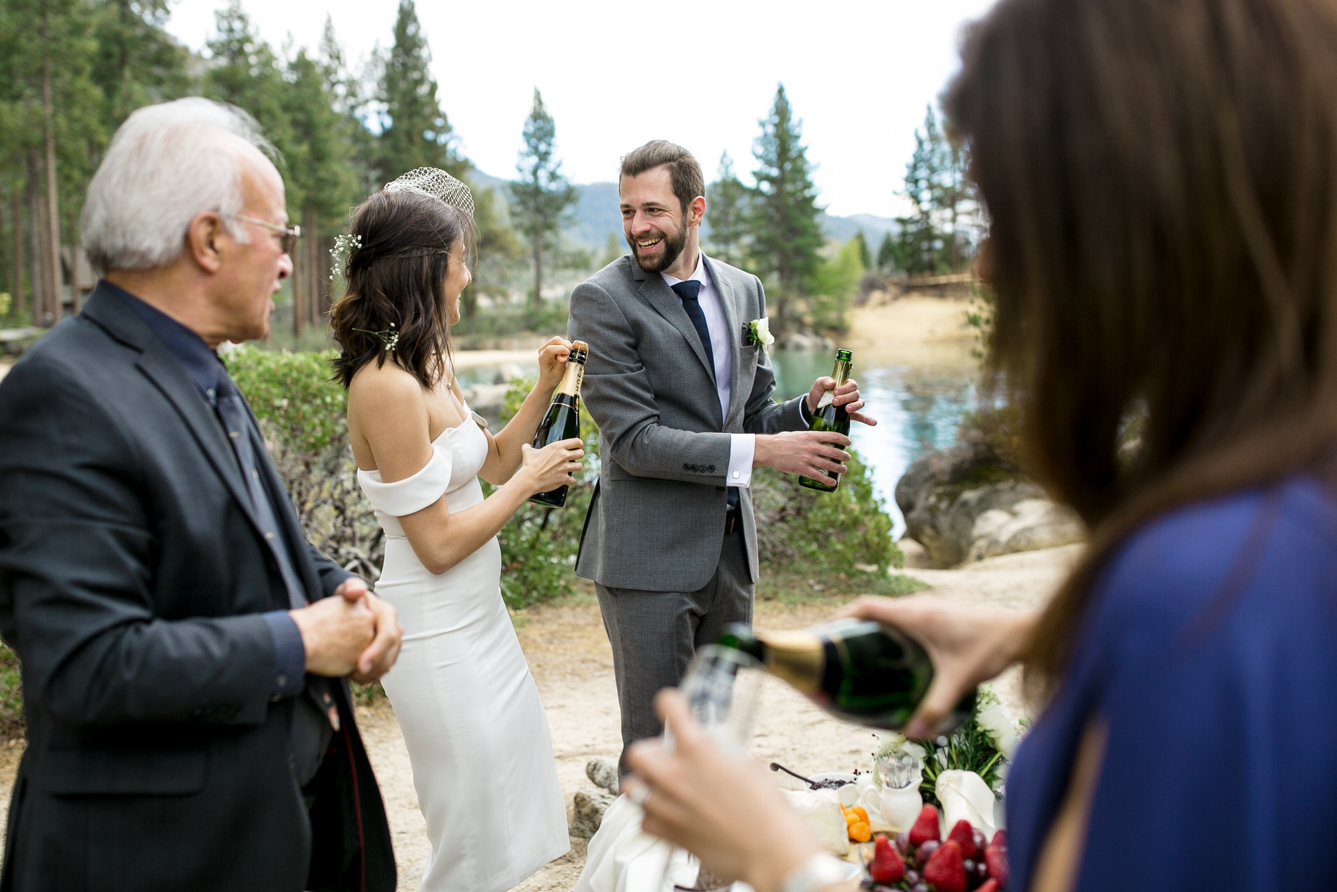 Sand Harbor State Park, Nevada Elopement Ceremony Image | The groom and his brother prepared a small table of hors d'oeuvres and champagne toast to enjoy after the ceremony.