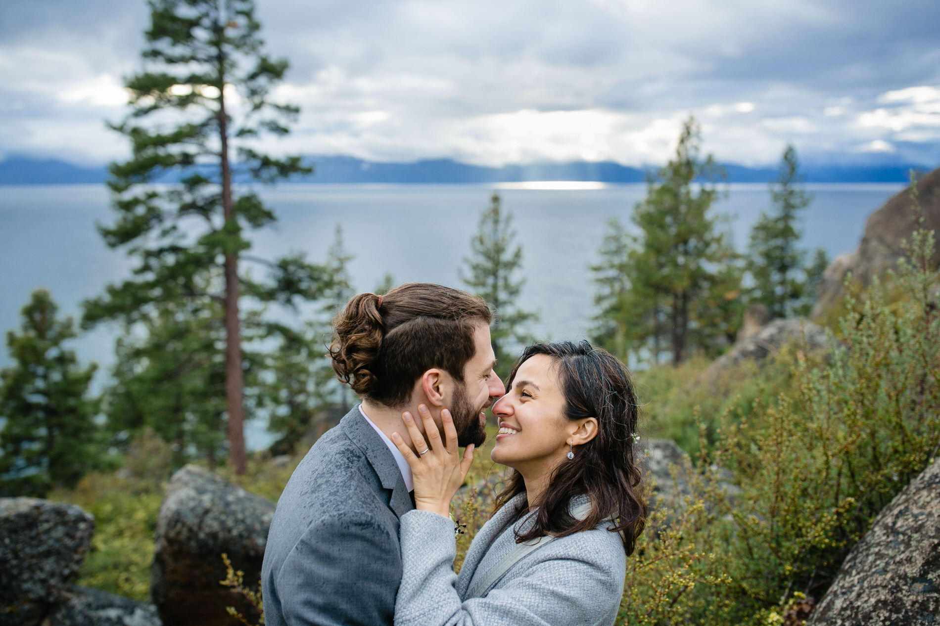 Lake Tahoe Outdoor Elopement Portrait | Portrait of the bride and groom in the forest
