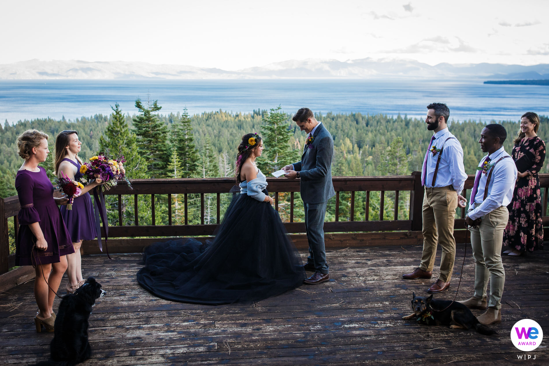 Tahoe City, California Elopement Photography of The bride, groom, and their friends rented a house in Tahoe City with a sweeping view of Lake Tahoe. The wedding ceremony was on the deck.