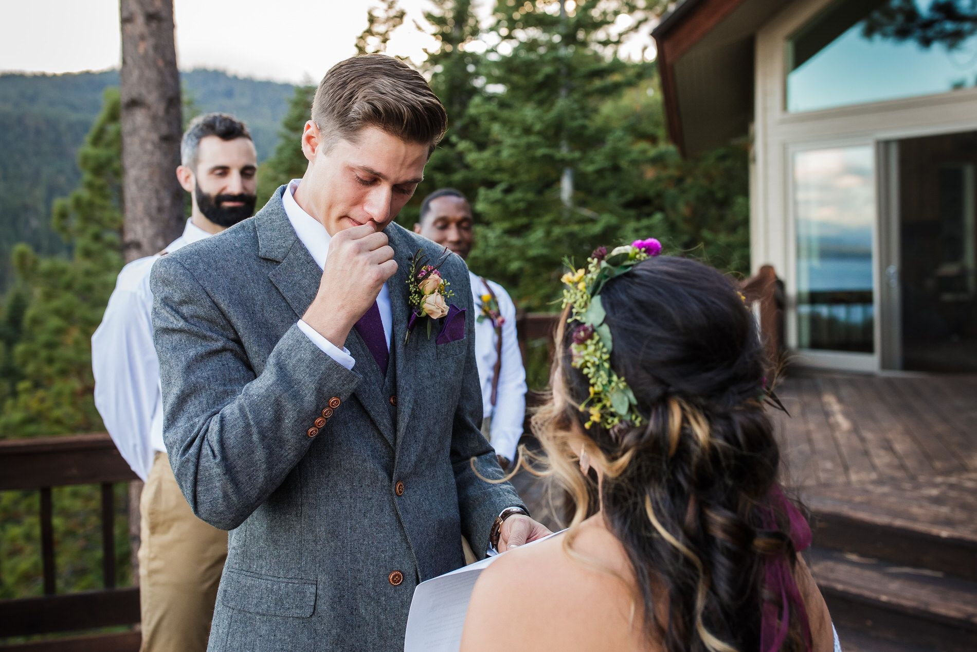 Tahoe City, California Elopement Ceremony Image | The wedding ceremony was emotional for the groom