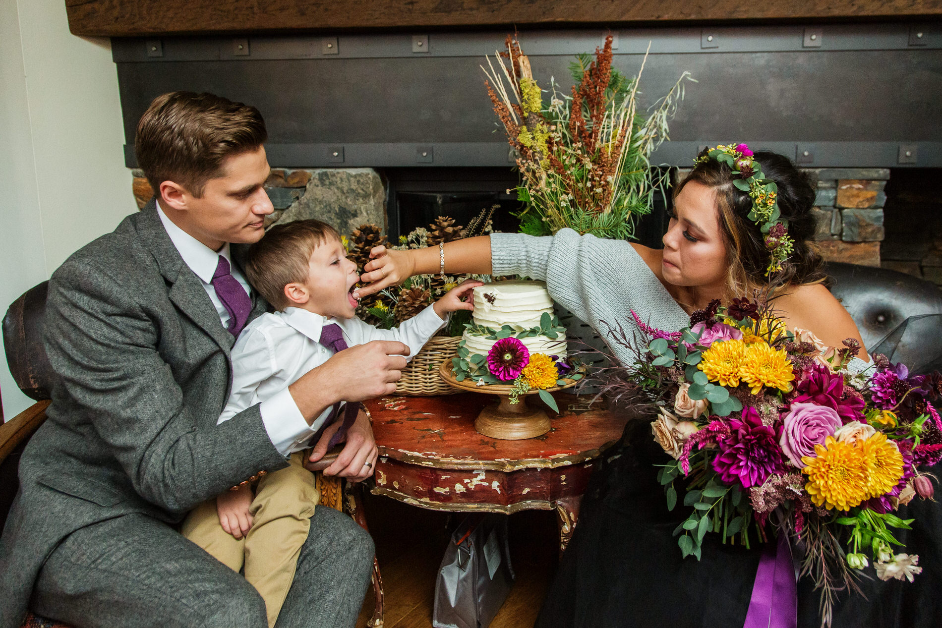 Tahoe City, California Elopement Photo | The bride, groom, and their son opted for an informal cake-cutting