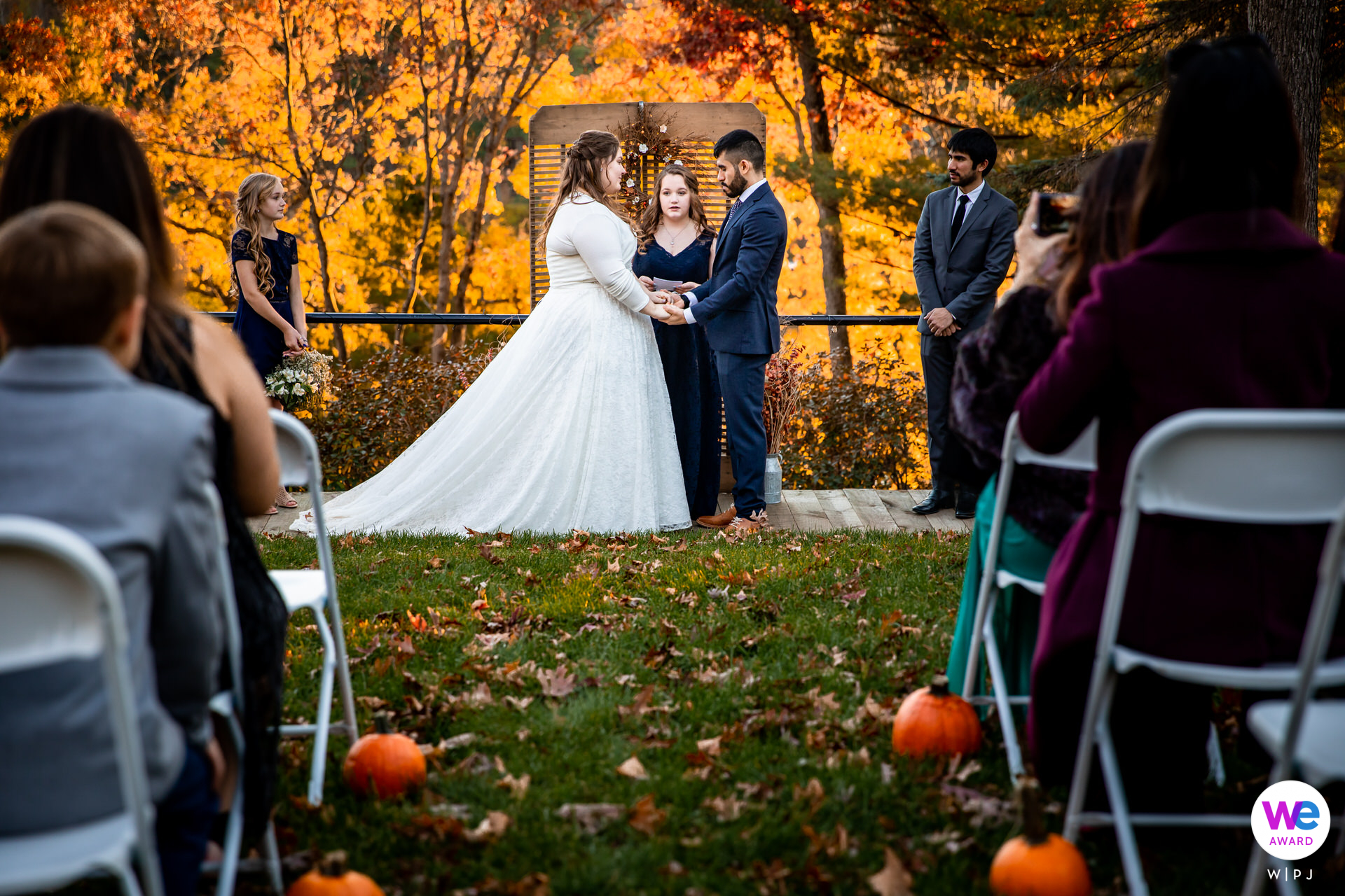 A Fall Wisconsin Elopement Photo From the Outdoor Ceremony   The small wedding guest list was narrowed down to just the bride, groom and about 20 closest guests which was perfect.
