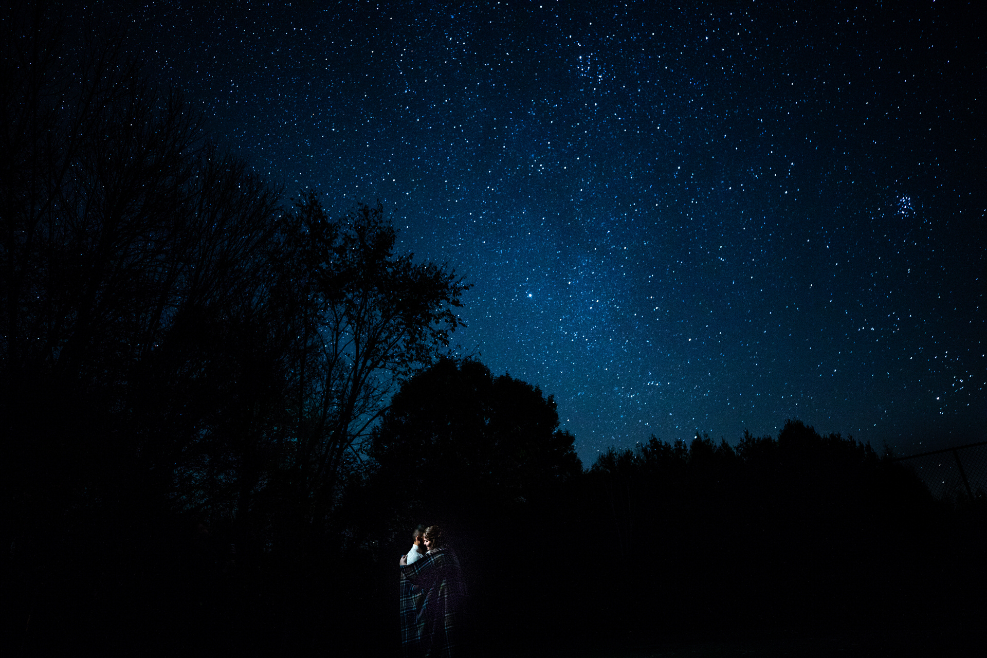 Balsam Lake, Wisconsin Small Wedding Portrait   End of the night shot with star-filled sky.