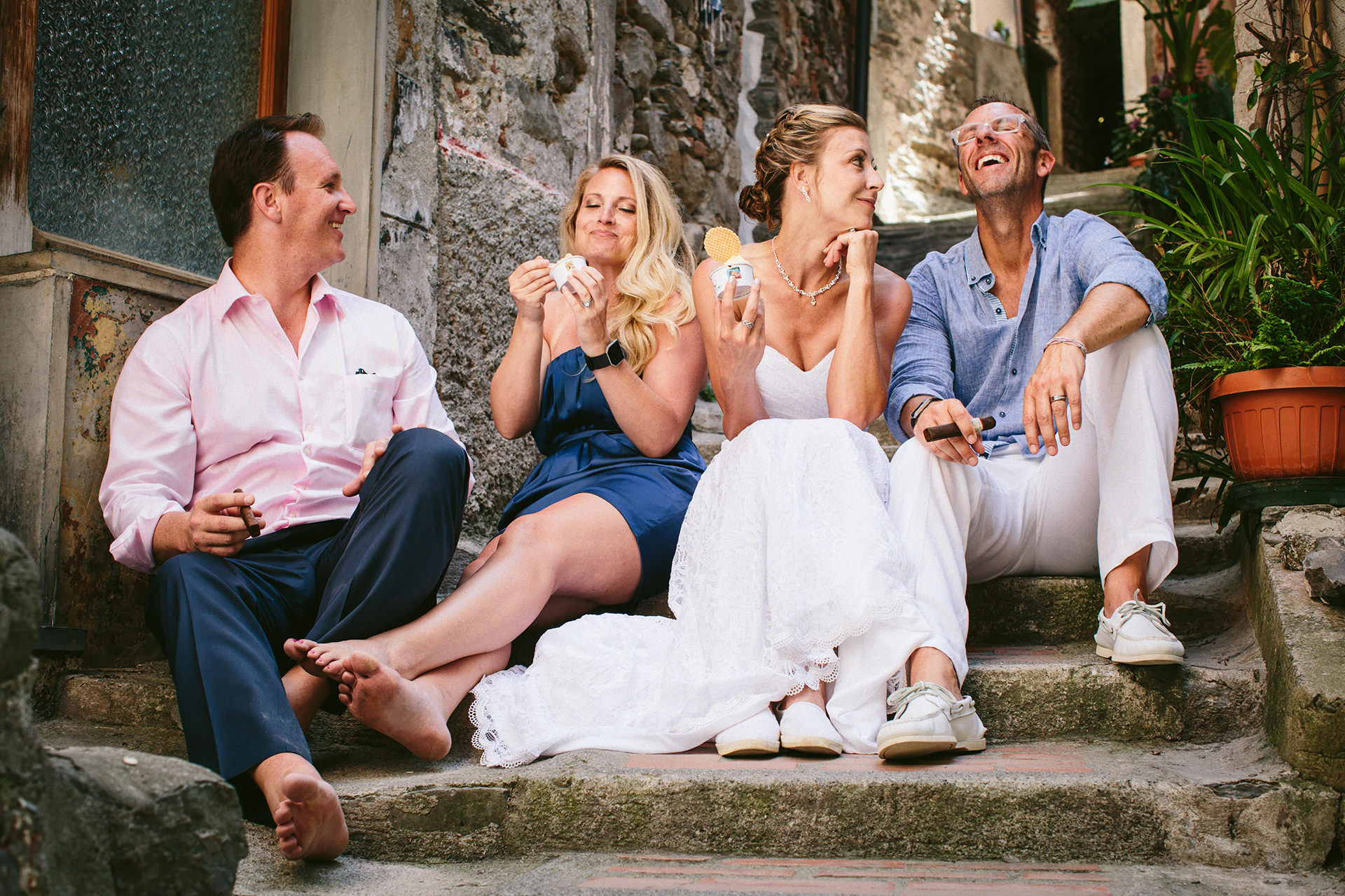 Vernazza Italy Elopement Image | The end of the ceremony was celebrated with a delicious Italian gelato.